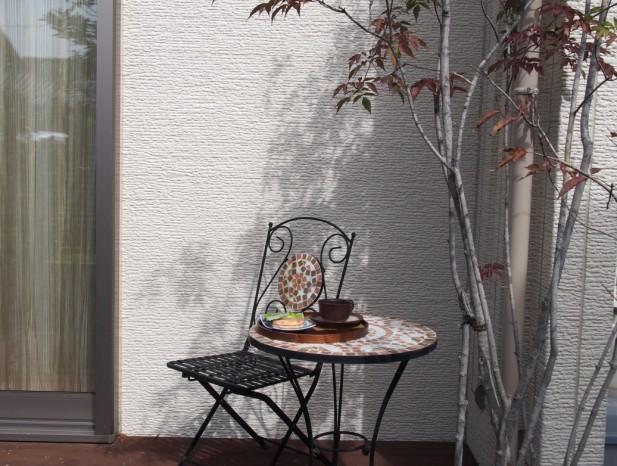 kitanagoya_y3ウッドデッキ前のアオダモが玄関からのリビングへの視線を遮ります