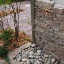 アオダモと気良石と石畳の庭の写真